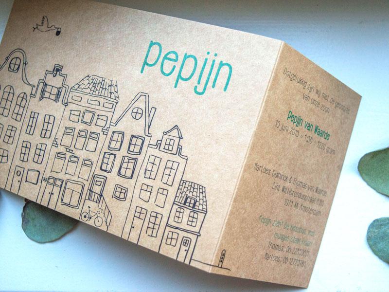 amsterdams geboortekaartje kraftpapier illustratie