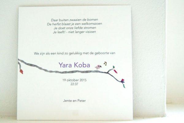 geboortekaartje yara handgeschilderd