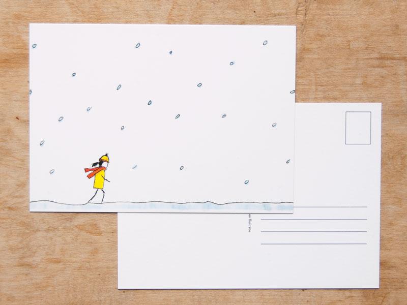 illustratie ansichtkaart winterwandeling kerstkaart kerst