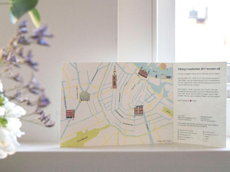 Amsterdam trouwkaart plattegrond geillustreerd