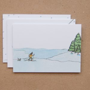 kerstkaart ansichtkaart illustratie skien